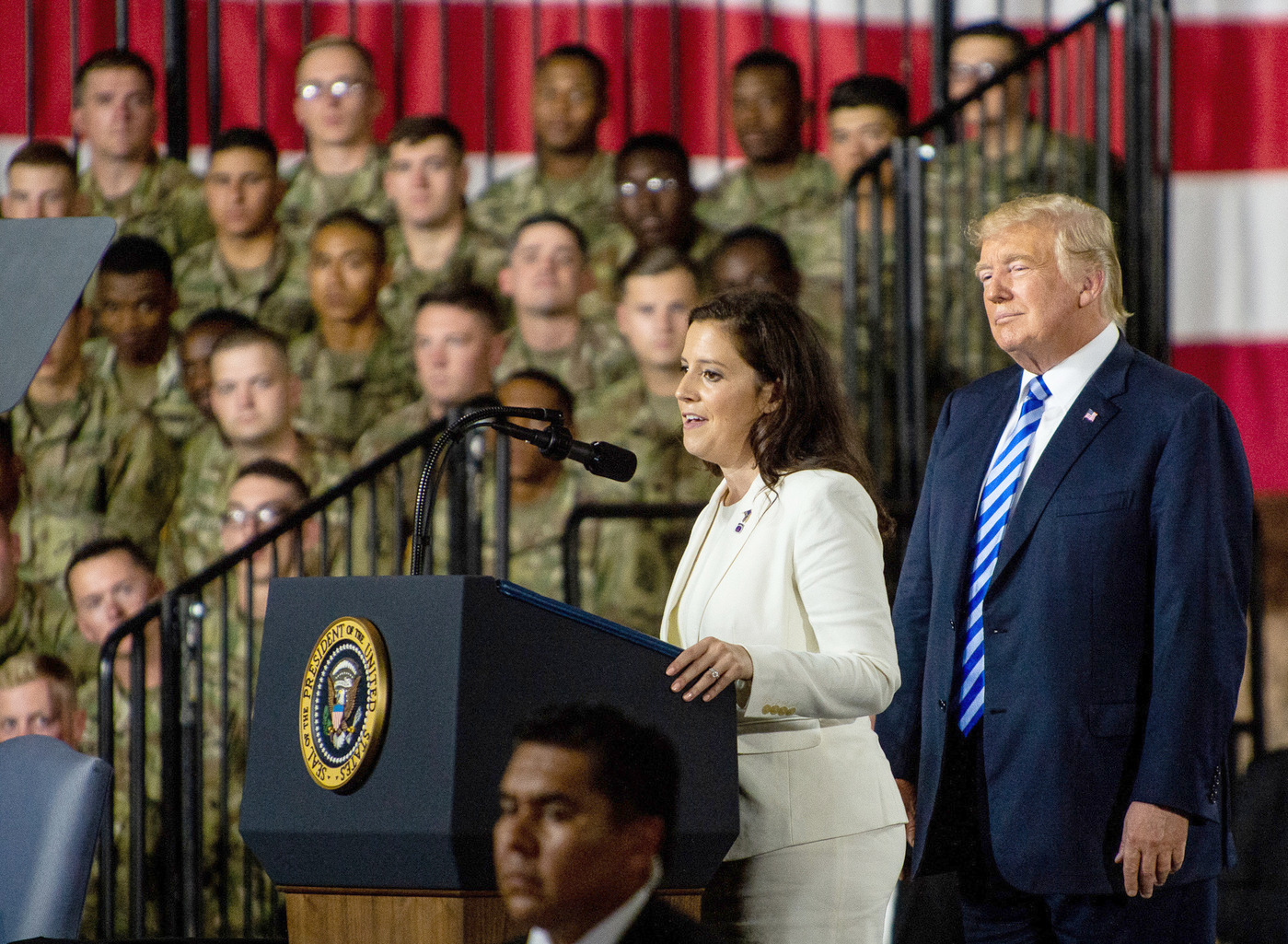 Rep. Elise Stefanik invited President Trump to Fort Drum in 2018. File photo: courtesy of Watertown Daily Times